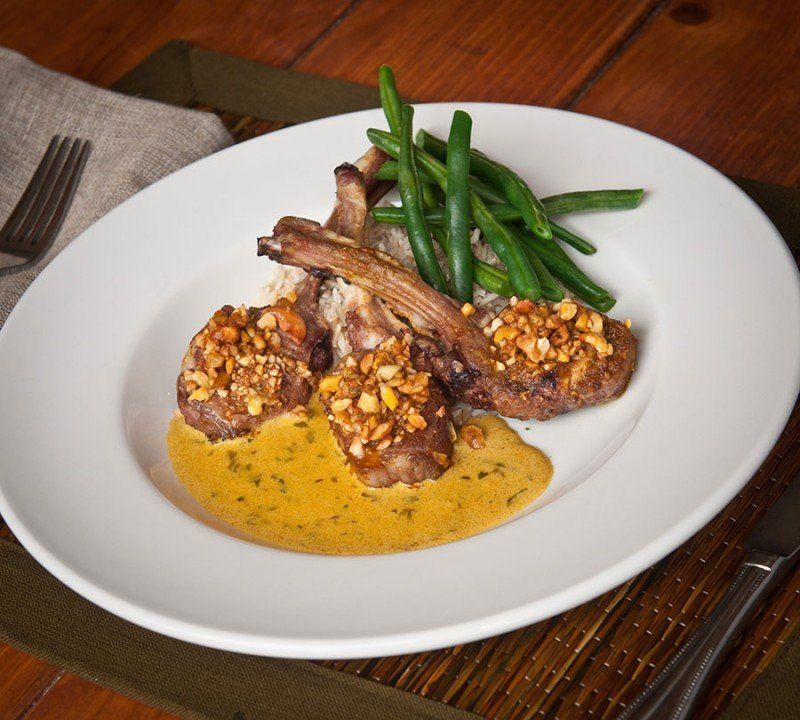 Lamb dinner with green beans