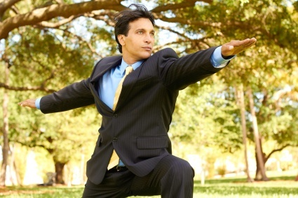 Stretch to relief stress when travelling on business