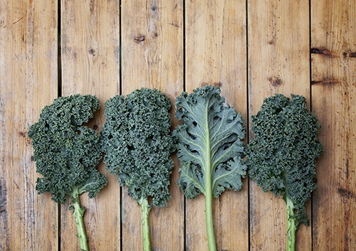kale on a wooden table