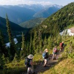 four people hiking on a british columbia trail