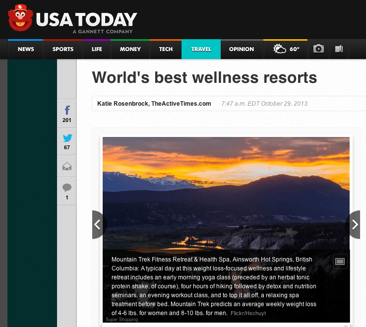 Mountain Trek on USA Today