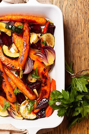 Roasted Vegetables With Miso-Lime Dressing