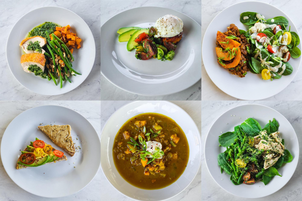 healthy meals in a collage