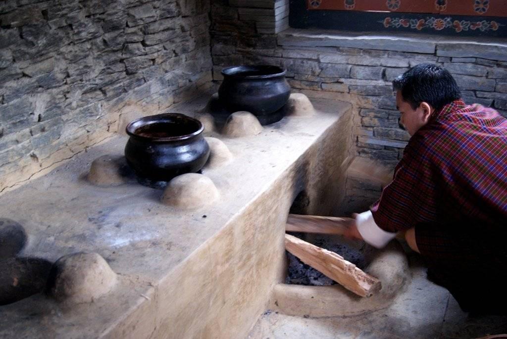 Traditional Bhutanese Cooking seen on Mountain Trek Adventure Trek