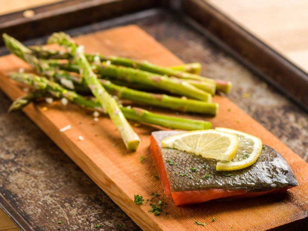 Cedar Planked Salmon with Grilled Asparagus