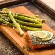 Cedar Planked Salmon with Grilled Asparagus
