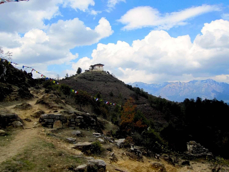 Looking at the peak of the Jele Dzong Hike Mountain Trek Bhutan Adventure Trek