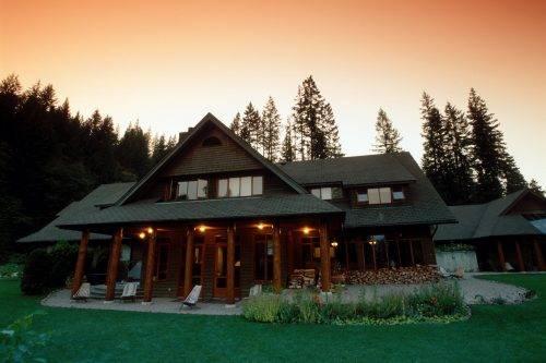Mountain Trek British Columbia, Canada Lodge porch at Dusk