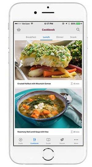 Recipes & Shopping Lists on the Mountain Trek Way Health App