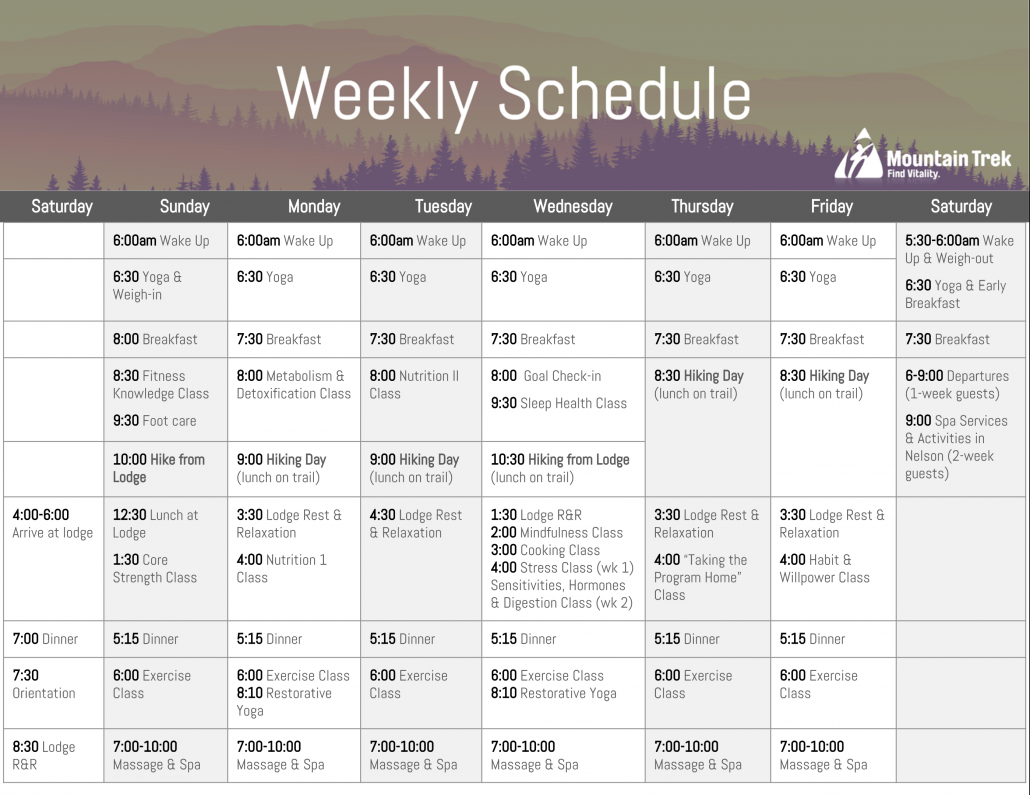 Mountain Trek Schedule
