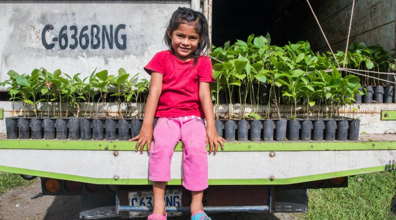 A local girl sitting on truck with new trees, donated by Mountain Trek
