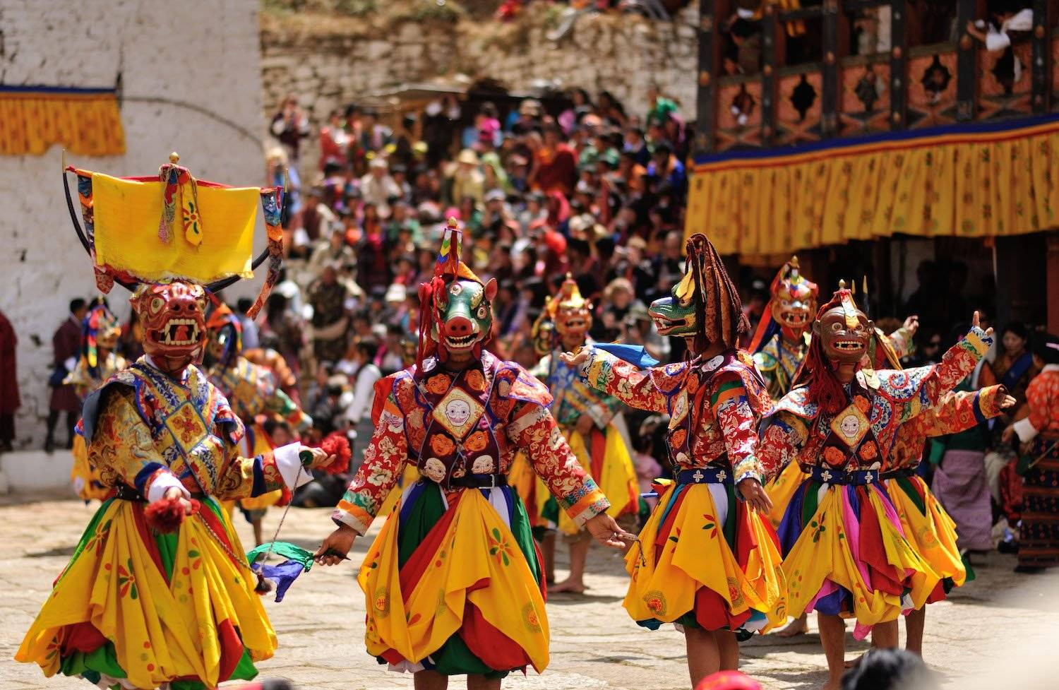 Masked Dancers at the Paro Tsechu Festival or Spring Festival