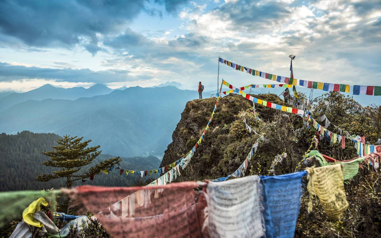 Prayer Flags at Paro Chele la Pass experienced on Mountain Trek Adventure Trek