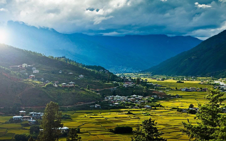 Sunset over Paro Valley, Bhutan