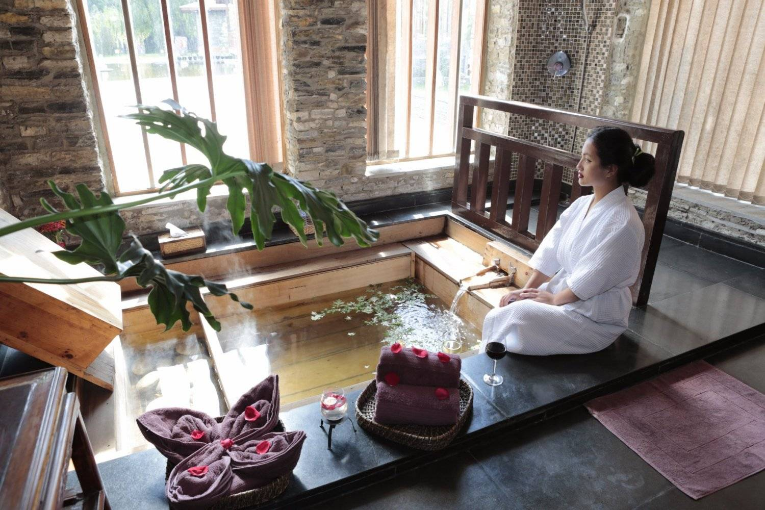 Terma Linca Spa Bath available for guests on Mountain Trek Adventure Trek