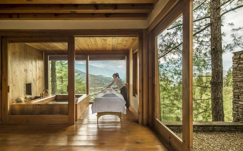 Traditional Hot Stone Bath with Massage at Como Uma in Paro seen on Mountain Trek Adventure Trek