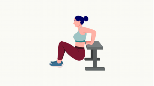 illustration of a person executing tricep dips exercise