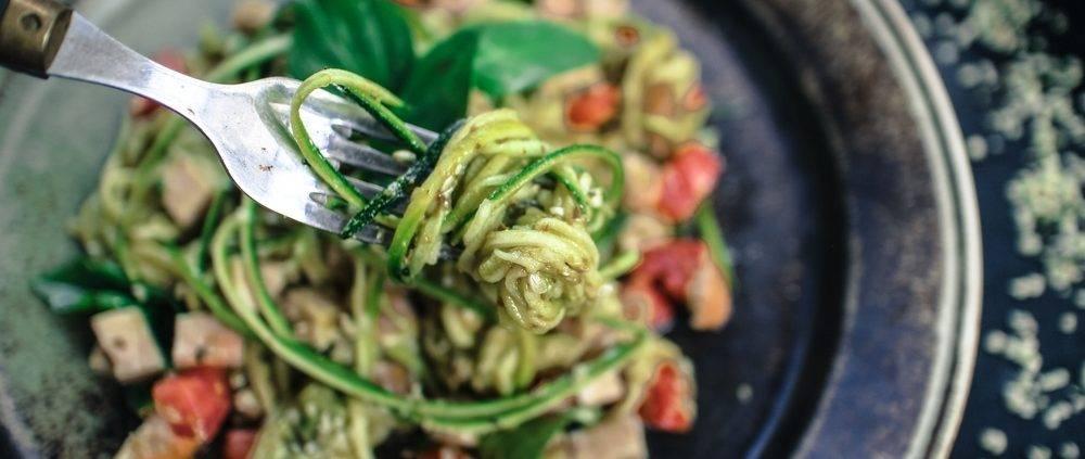 Chef Simon Vine makes rutabaga spaghetti with tempeh-almond 'meatballs' and a tomato-cashew rosee sauce at Mountain Trek