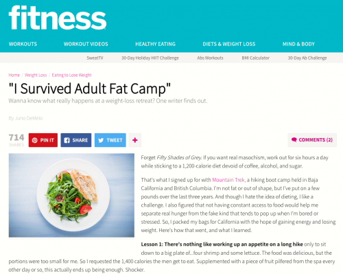 """I Survived Adult Fat Camp"" – Fitness Magazine features Mountain Trek"