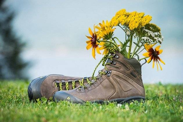 pair of hiking boots in front of lake with flower in them